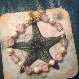 Jewelry - New Natural freshwater Pearl & Pink Jade Bracelet
